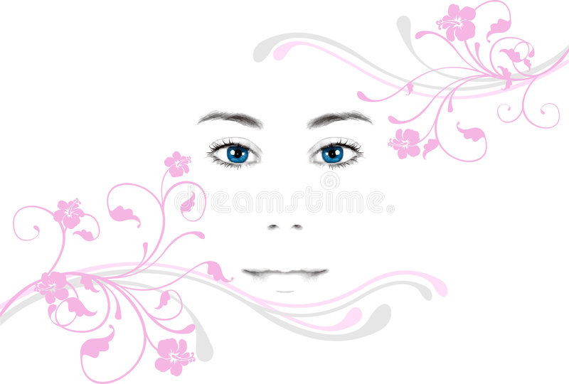 Young woman's face stock illustration