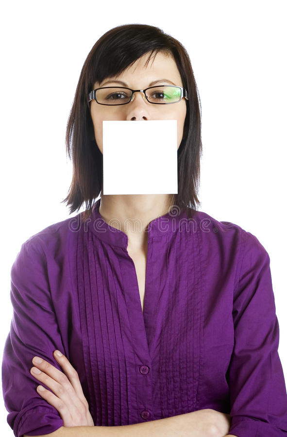 Woman With Blank Card royalty free stock image