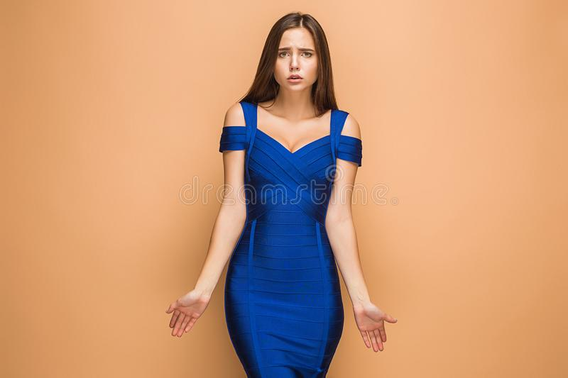 The young woman`s portrait with sad emotions royalty free stock images