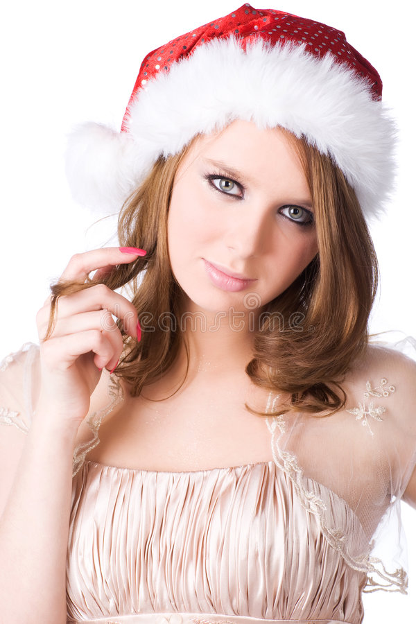 Download Young Woman In Santa Hat Portrait Stock Image - Image of girl, human: 7162113