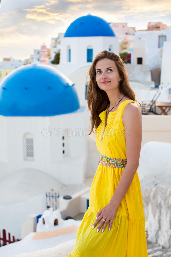 Young woman in Santorini island royalty free stock photography