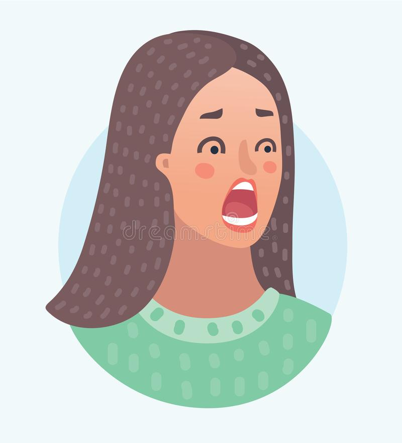 Young woman scared face royalty free illustration