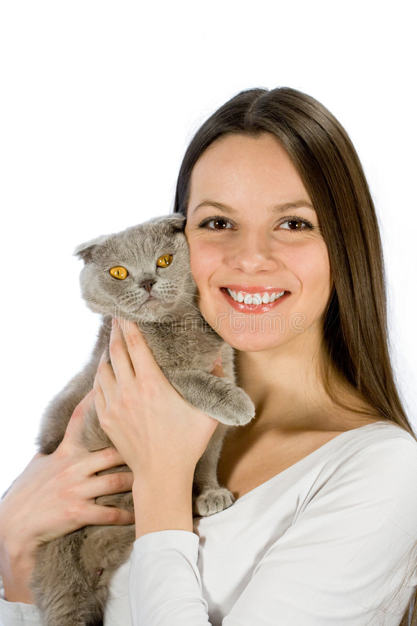 Download Young Woman With Scottish-fold Cat Stock Photo - Image: 4889400