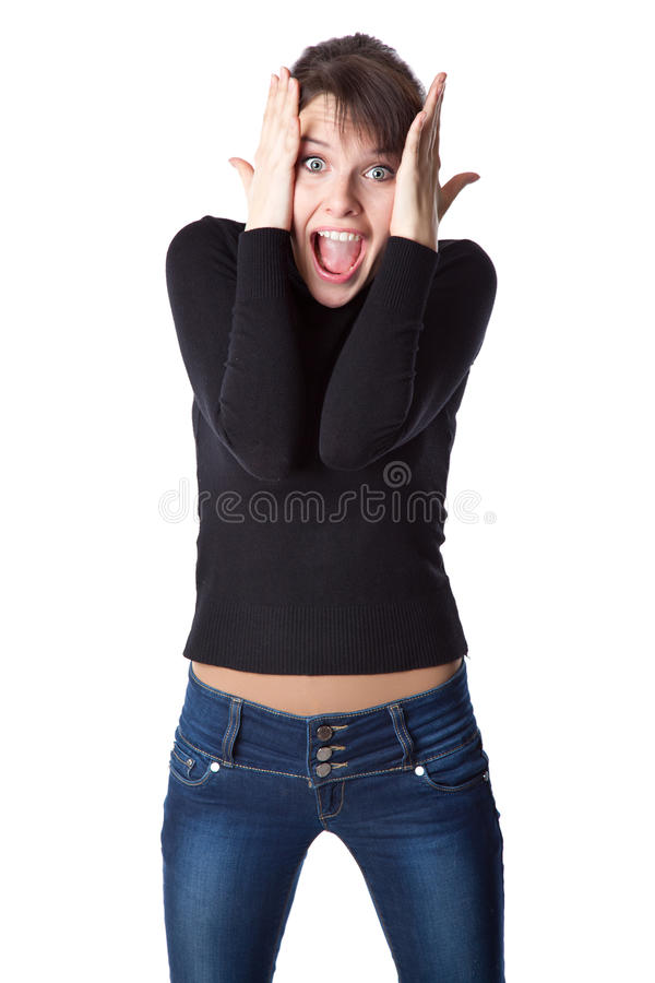 Download Young woman is screaming stock image. Image of excitemant - 22782991