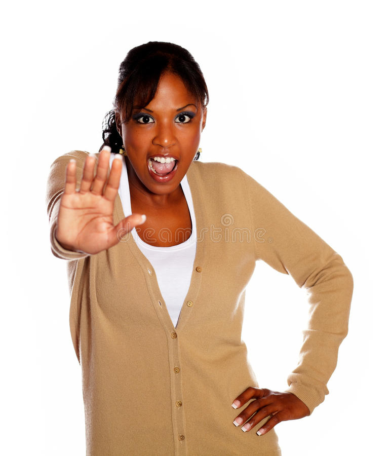 Download Young Woman Screaming And Giving The High Stock Image - Image: 26752735