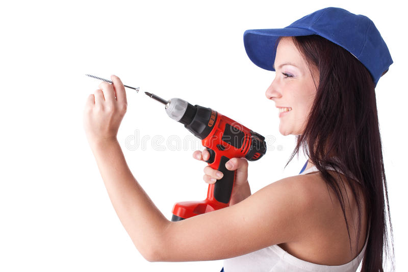 Download Young woman screwdriver stock photo. Image of blue, house - 13771174