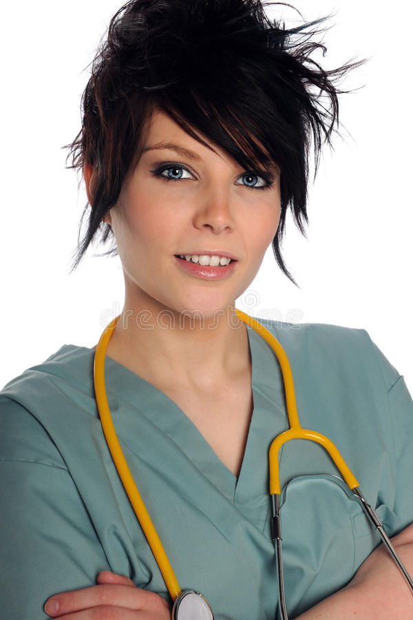 Young Woman in Scrubs royalty free stock photos