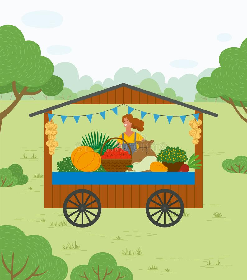 Woman Selling Vegetables in Trade Tent Vector royalty free illustration