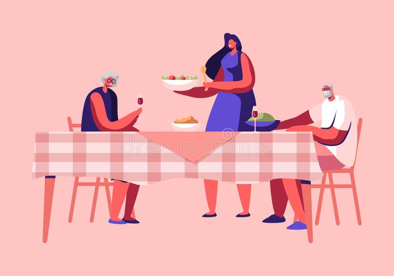 Young Woman Serving Table Putting Dish with Delicious Meal on Table with Senior Cheerful People Sitting. Happy Family Holiday vector illustration
