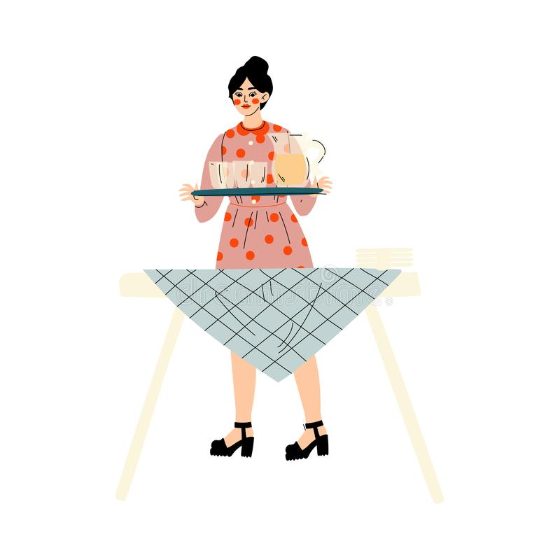 Young Woman Setting the Table, Family Having BBQ Party Outdoors Vector Illustration. On White Background vector illustration