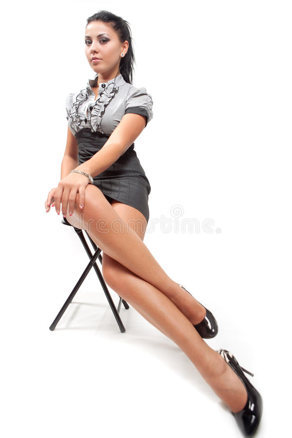 Young woman with long legs stock photo