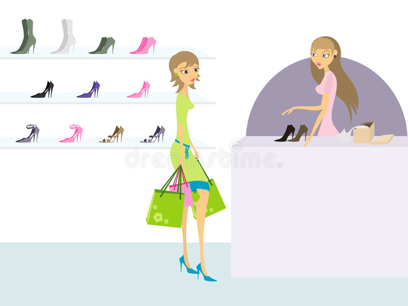 Young woman in shoe store. Young woman looking at shoes in shoe store stock illustration