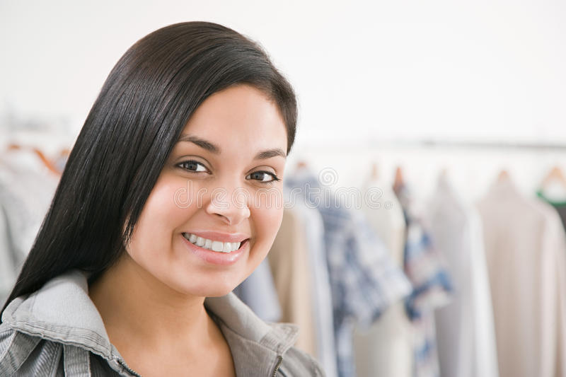 Young woman in a shop royalty free stock image
