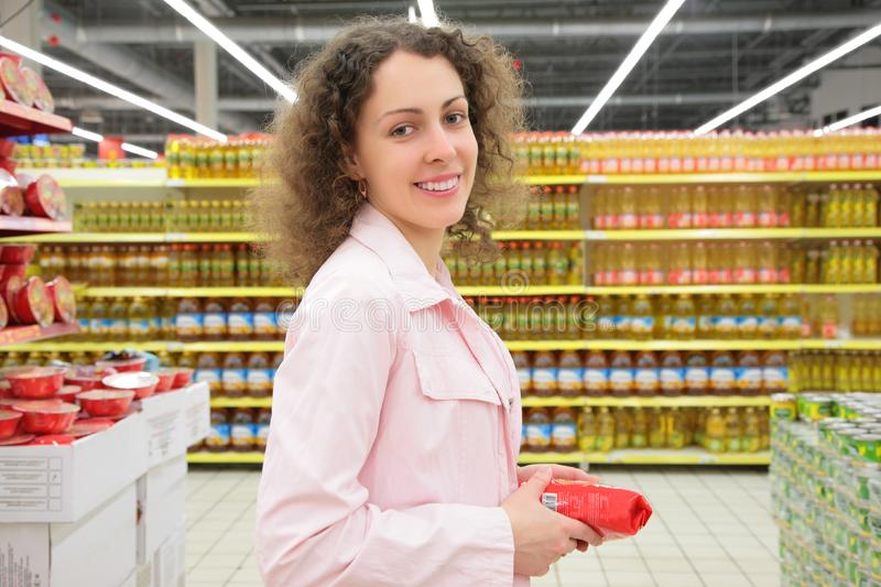 Young woman in shop stock photography