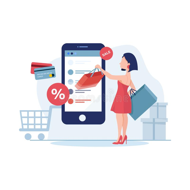 Young woman shop online using smartphone. Flat  design with e-commerce and online shopping icons and elements for mobile sto stock illustration