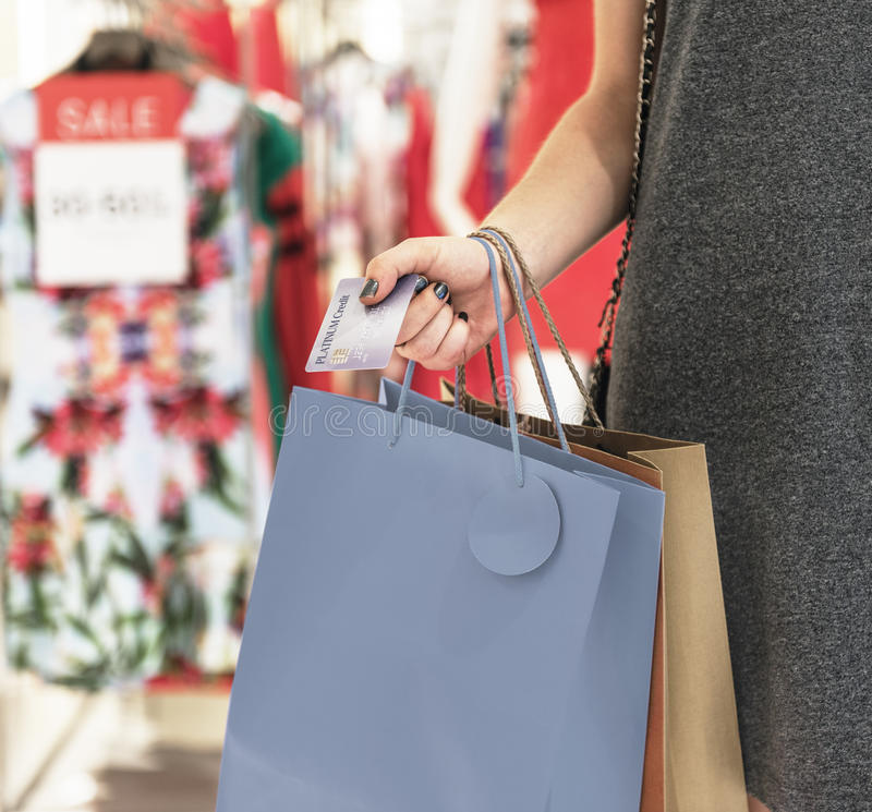Young Woman Shopping Consumer Concept royalty free stock photography
