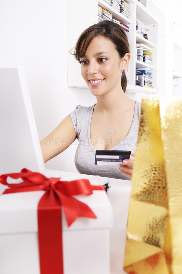 Download Young Woman In Shopping On-line Stock Image - Image: 16942981