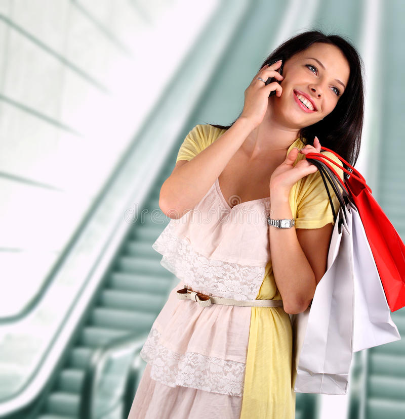 Young woman shopping at the mall stock image