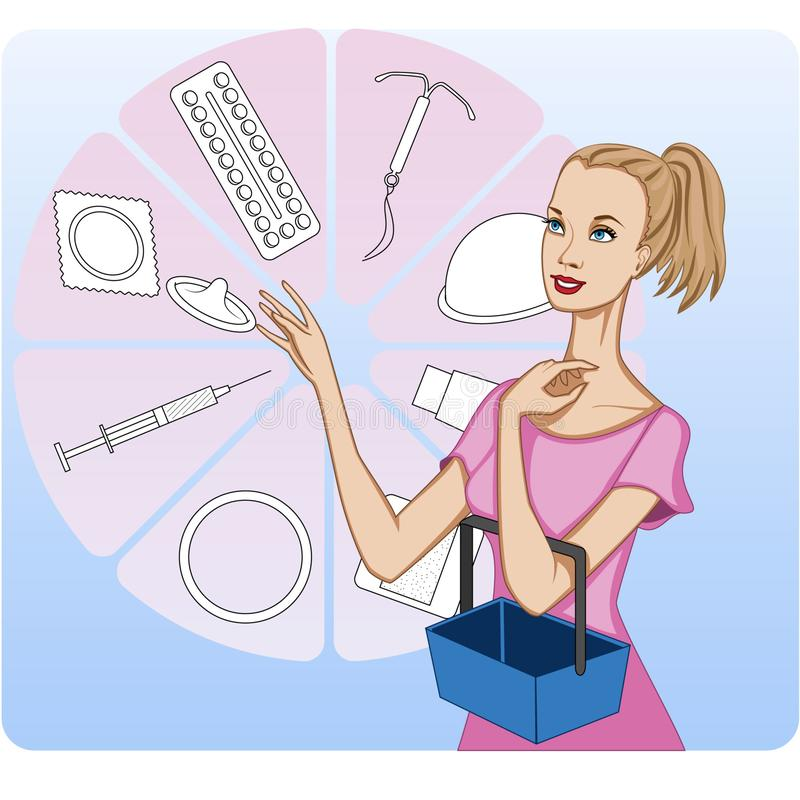 Young woman shopping for methods of birth control, presented schematically royalty free illustration
