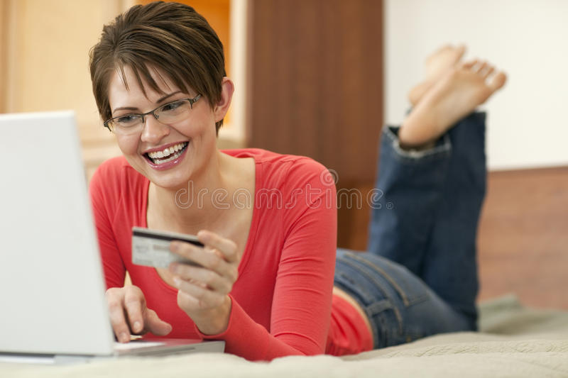 Download Young Woman Shopping Online Stock Image - Image: 15177903