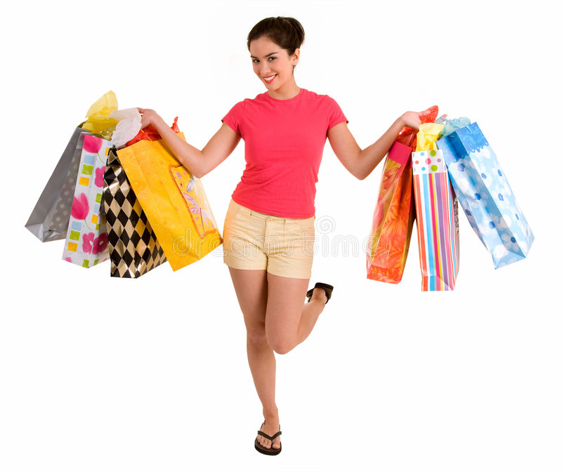 Download Young Woman On A Shopping Spree Stock Image - Image: 3935945