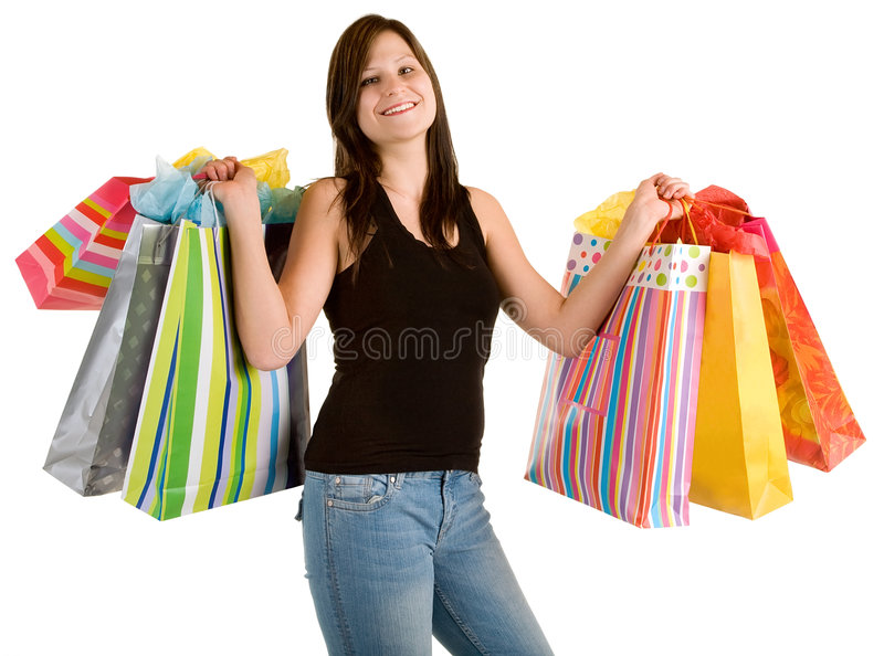 Download Young Woman On A Shopping Spree Stock Image - Image: 9142001