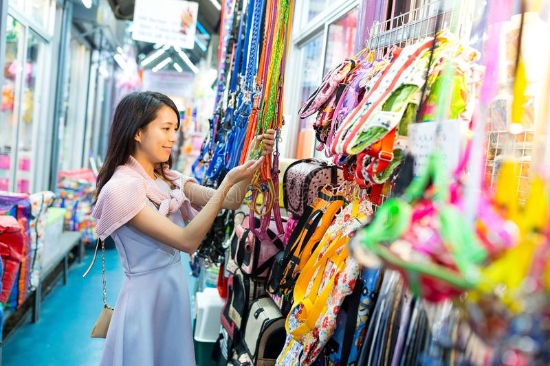 Young Woman shopping in street market. Asian young woman stock photo