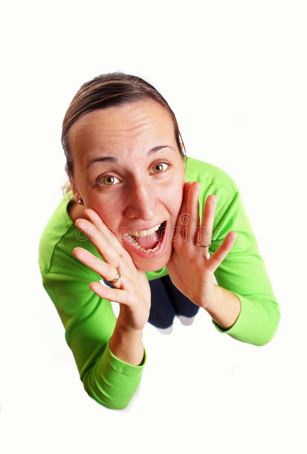 Download Young woman shouting stock image. Image of hallo, person - 22505973
