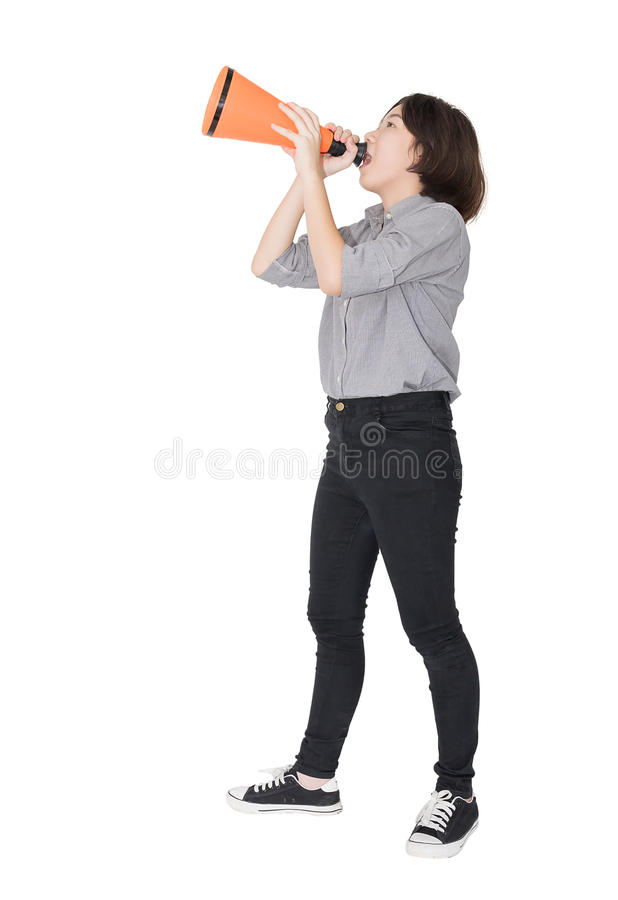 Young woman shouting for announce through a megaphone. Loud hailer, Cutout isolated on white background stock images