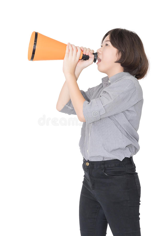 Young woman shouting for announce through a megaphone. Loud hailer, Cutout isolated on white background royalty free stock images