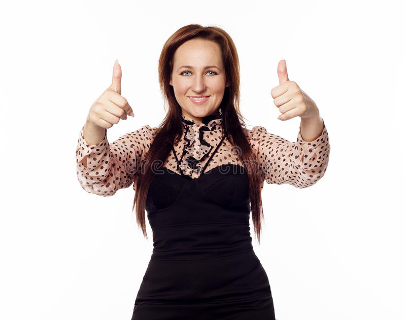Young woman showing hand ok sign royalty free stock photo