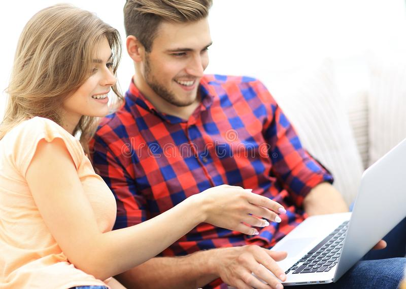 Young woman showing her boyfriend`s photo on the laptop. Young women showing her boyfriend`s photo on the laptop. photo with copy space stock images