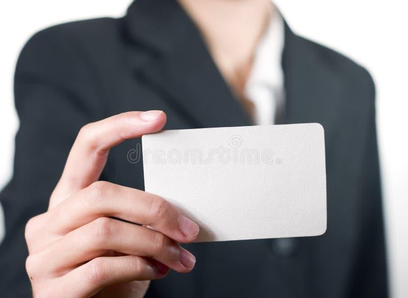 Young woman showing her business card closeup stock photos