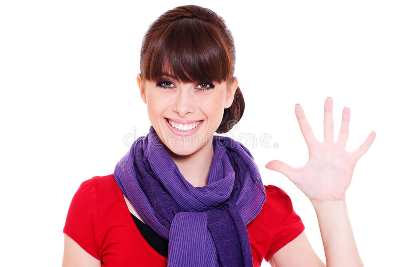 Young woman showing number five stock image