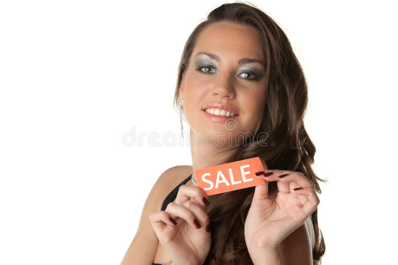 Download Young Woman Showing SALE Sign Stock Photo - Image: 19003238