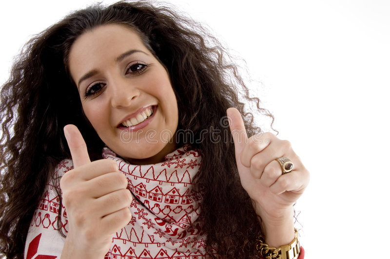 Young Woman Showing Thumb Up With Both Hands Stock Image