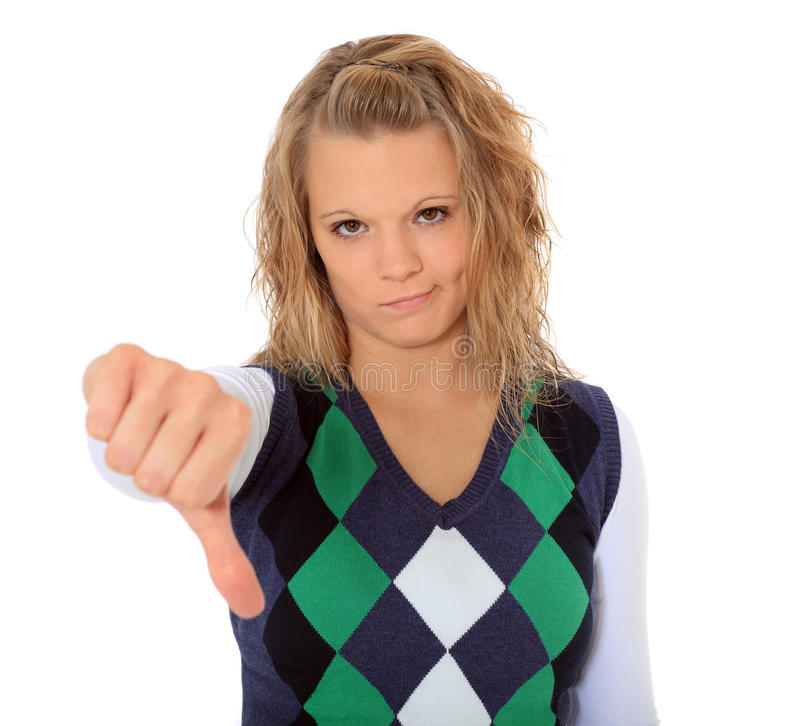 Download Young Woman Showing Thumbs Down Stock Photo - Image: 16972314