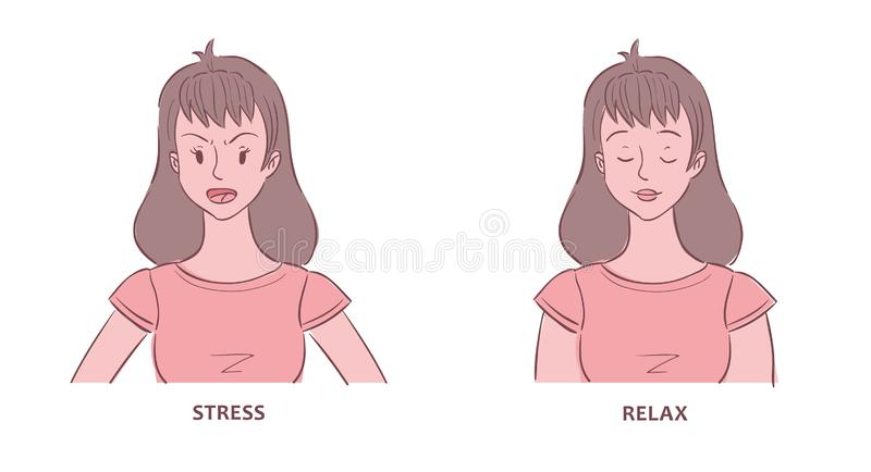 Young woman shown in stress and relaxed states. Illustration of young woman shown in stress and relaxed states vector illustration