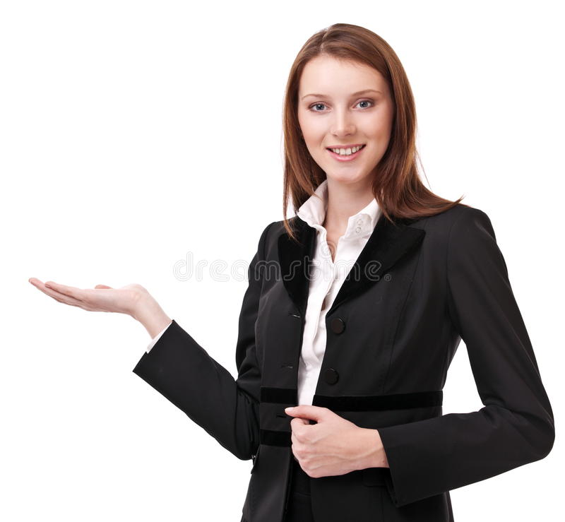 Young woman shows her empty palm. royalty free stock image