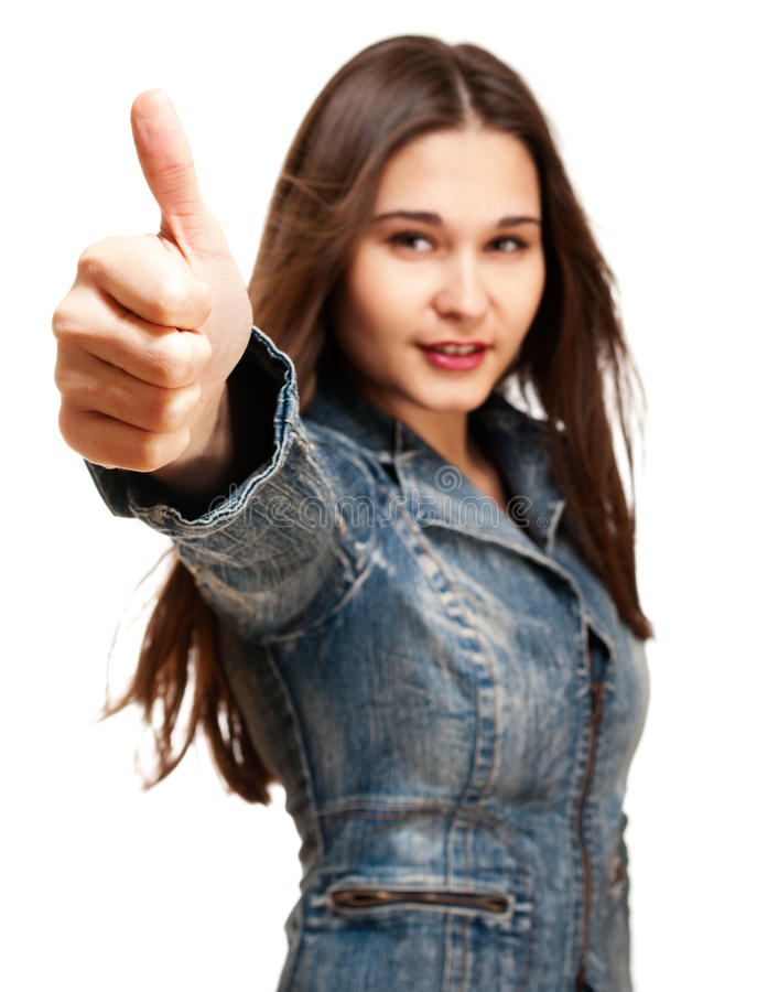 Young woman shows thumb up royalty free stock photos