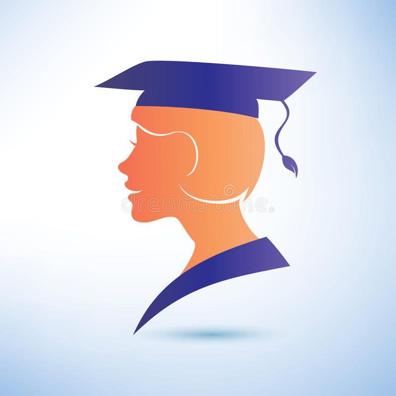 Download Young Woman Silhouette With Graduation Cap Stock Vector - Image: 37974676