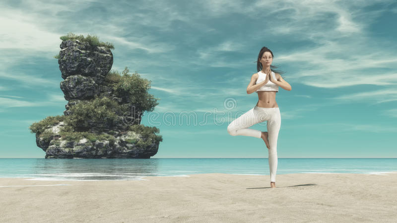 Young woman silhouette practicing yoga stock photo