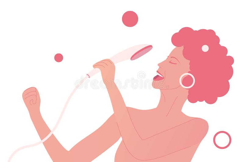 Young woman sings at the shower like a rock star vector illustration