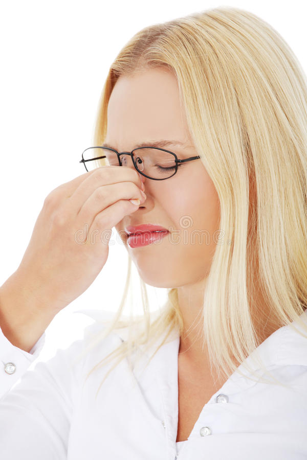 Young woman with sinus pain royalty free stock photos