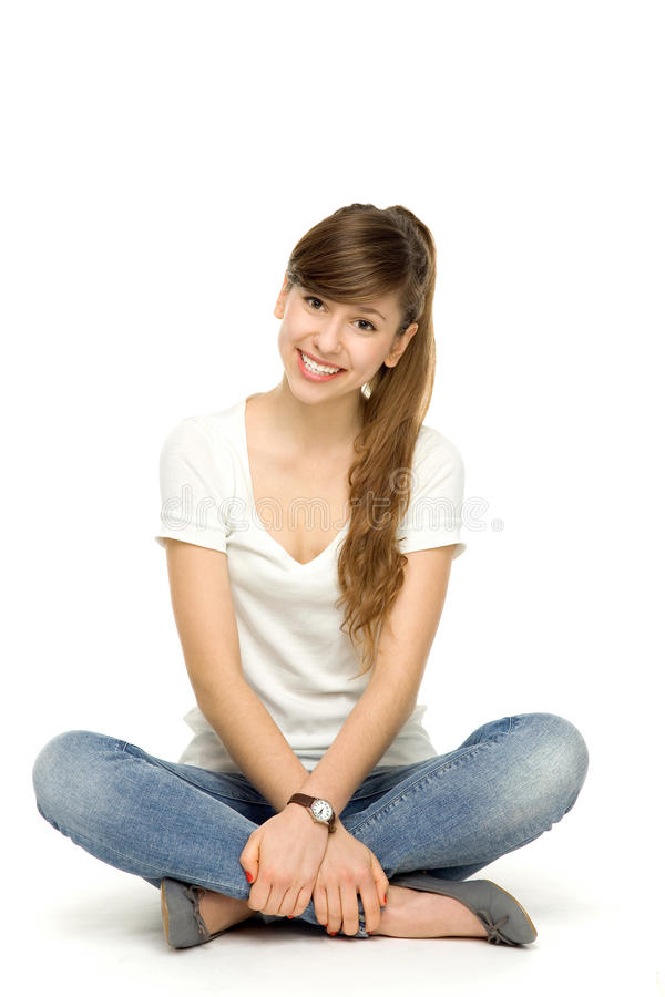 Download Young woman sitting stock image. Image of happy, body - 23112729