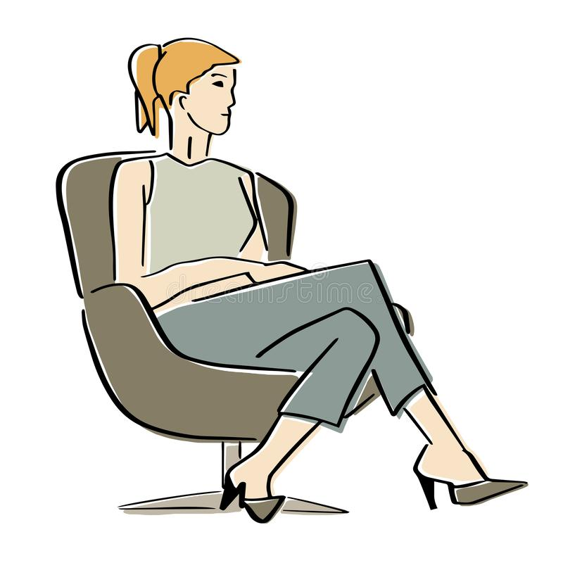 Young woman sitting in armchair in a closed pose. royalty free stock image