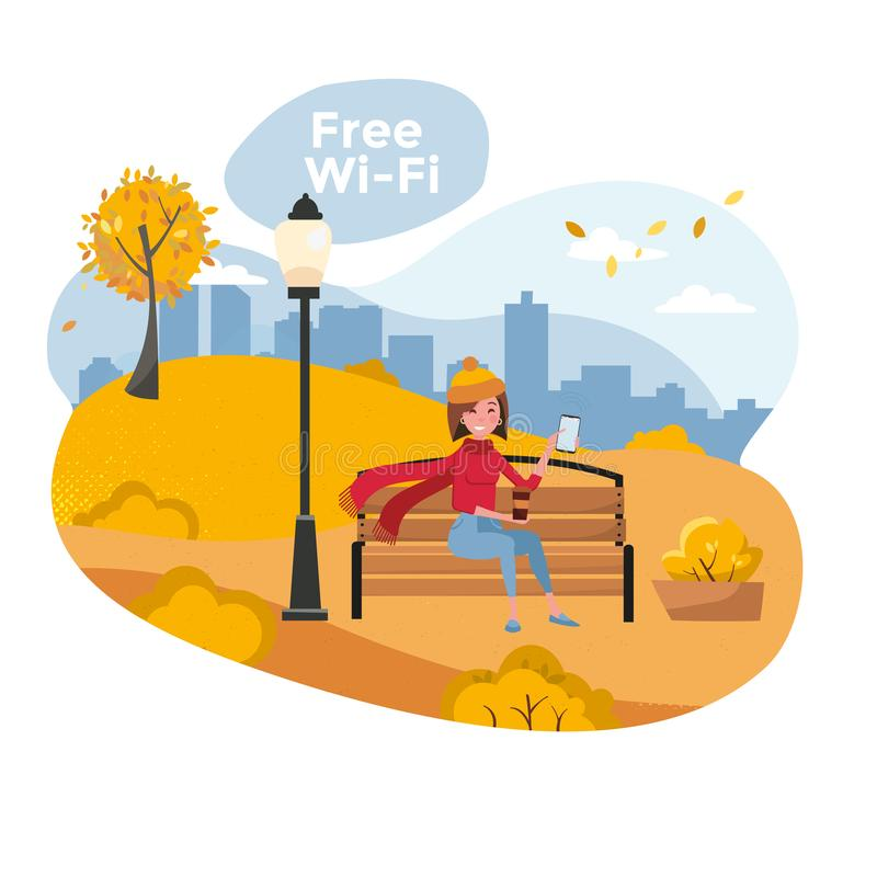 Young woman sitting in autumn park on bench with phone and holding coffee. Vector flat cartoon illustration. Free wifi zone and stock illustration