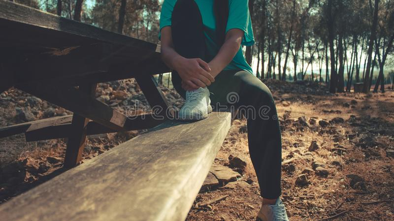 Woman having a rest in a bank royalty free stock images