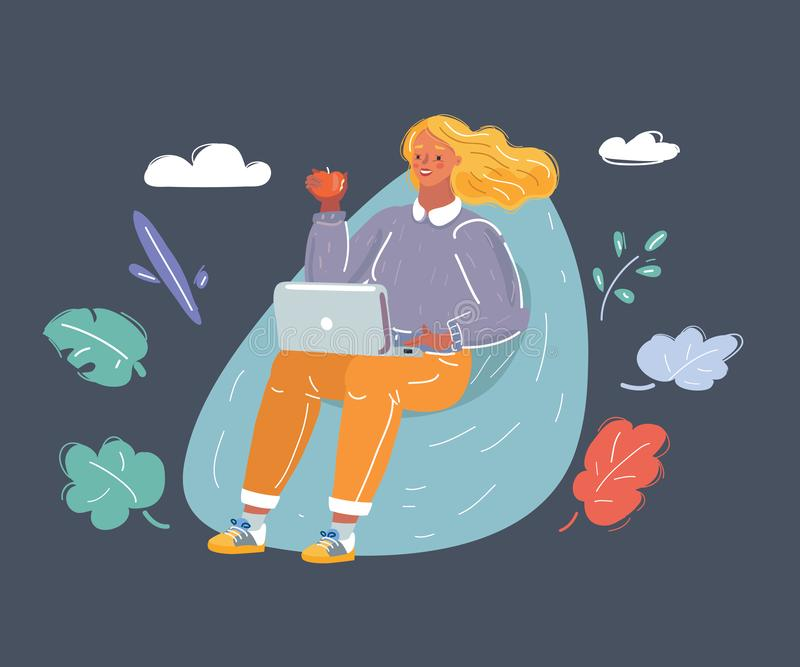 Young woman sitting on bean bag with laptop royalty free stock images