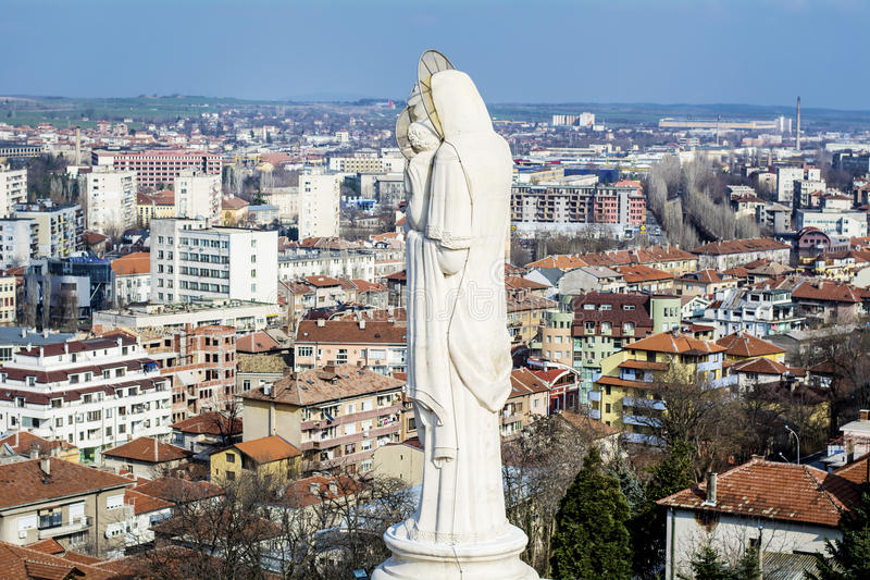 Blessed Virgin Mary monument in Haskovo ,Bulgaria. The Monument of the Holy Mother recorded in the Guinness Book as the biggest statue in the world on May 24 stock image